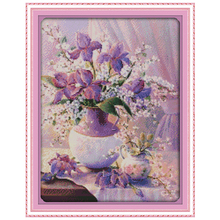 NEW!! Purple Vase (2) Counted Cross Stitch 11CT 14CT Cross Stitch flowers Cross Stitch Kits for Embroidery Home Decor Needlework