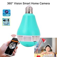 Security 960P Fisheye Panoramic Wifi Wireless P2P Network IP Camera LED Bulb Light Home Security System For IOS Android