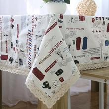 New Arrival Cotton Linen Lace Tablecloth Travel Scenery Muliti-size Rectangular Table Cloth Home Outdoor Decoration Nappe