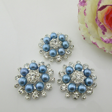 (BT202 33mm)5pcs flower blue pearl alloy button rhinestone buttons flat back embellishment DIY hair accessory