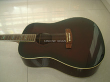 brown color free shipping D40 Acoustic guitar in stock  real wood body color pearl inlay