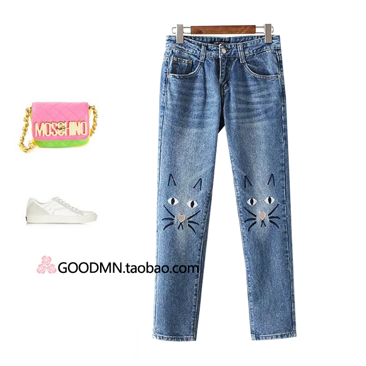South Korean womens last single cute cartoon female trousers jeans embroidery autumn 2017 newОдежда и ак�е��уары<br><br><br>Aliexpress