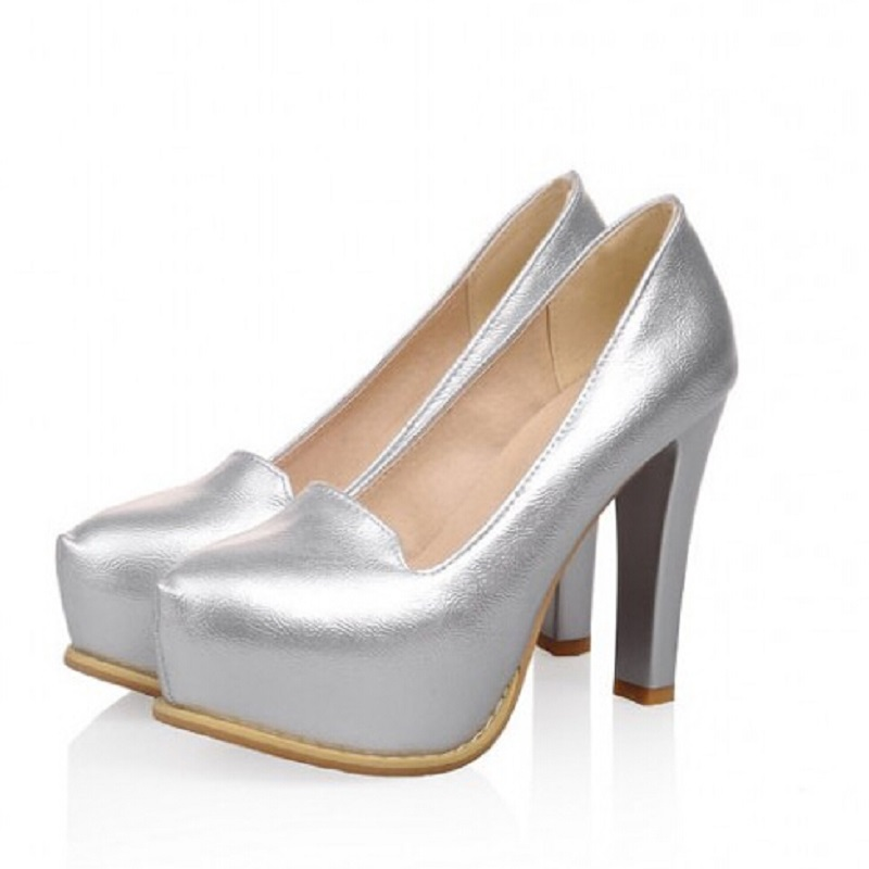 Gold Sliver Fashion Platform Pumps Sexy High-heeled Shoes Heels Round Toe Platform Shoes Womens Wedding Prom Shoes Size 34-43<br><br>Aliexpress