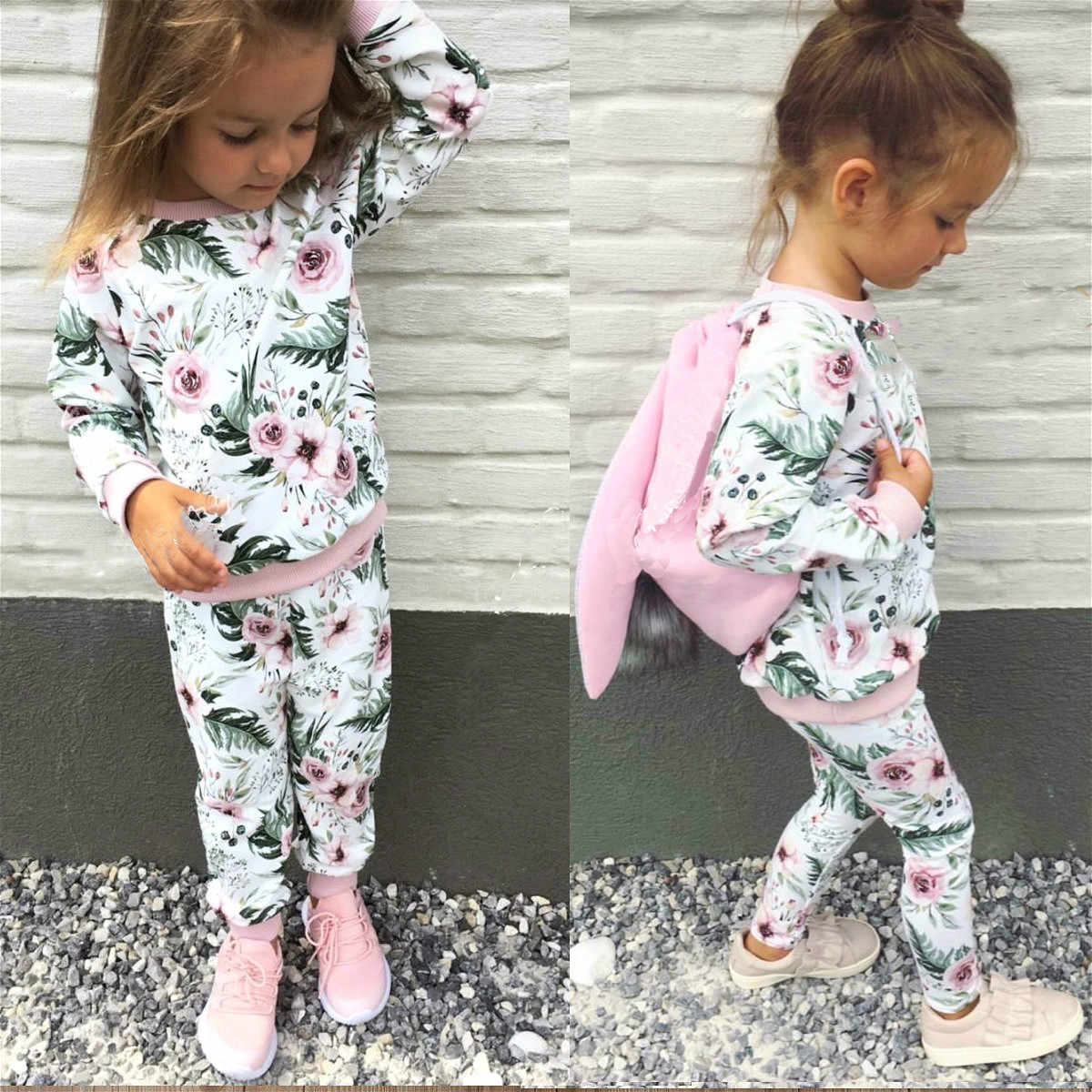 2019 Floral Baby Girl Clothes Set Autumn Winter Long Sleeve Cotton Hoodie Tops+Pant Newborn Toddler Baby Girls Clothing Set
