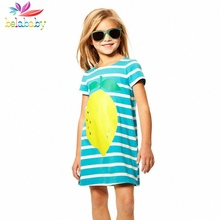 Belababy Girl Beach Dress 2017 New Fashion Kids Knitted Cotton Striped Dresses Children Cartoon Print Summer Dresses For Girls