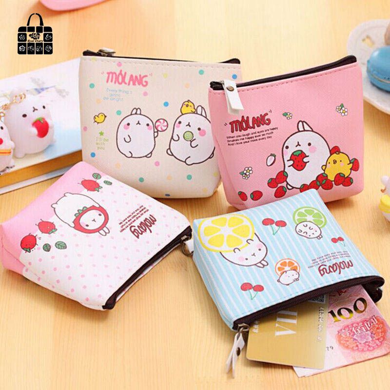 ROSEDIARY Cute rabbit high-grade PU leather creative change purse zipper Women Wallet Bag Coin Pouch Purse Holder Free
