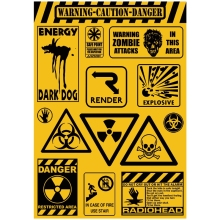 14x Sticker Warning Caution Danger A4 Size Phone iPad Tablet Laptop Luggage Skateboard Bicycle Motorcycle Auto Car Styling Decal(China)