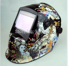 Flame skeleton Solar Auto Darkening Welding Helmet for ARC MAG MIG TIG Welding equipment Helmet welder cap Chrome NO.1