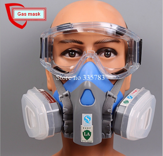 1pcs Double Gas Mask Chemical Gas Respirator Face Masks Filter Chemical Gas Protected Face Mask with Goggles<br><br>Aliexpress