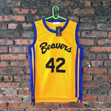 2017 Scott Howard #42 TEEN WOLF Beavers MOVIE MICHAEL J FOX Werewolf Yellow Movie Basketball Jersey throwback jerseys