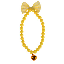 Pet Dog Cat Jewelry Acrylic Beads Necklace Bowknot Collars With Bells Dog Harnesses Pet Beauty Decoration Yellow Blue E#CH