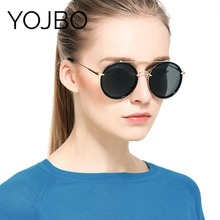 YOJBO Polarized Sunglasses Women Blocking UV Reduce Glares 2018 Alloy Ladies Sun Glasses Round Mirror Eyewear Brand Designer(China)