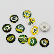 Newest Green Bay Packers Snap Buttons 18MM Glass Football Team Snap Charm Fit DIY Snap Jewelry(Mixed 50pcs or Single 20pcs)(China)
