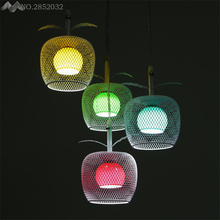 America Creative Colorful Apple Glass Pendant Lights 4 Heads Cage Lamps for Bedroom Restaurant Cafe Indoor Lighting Decoration(China)