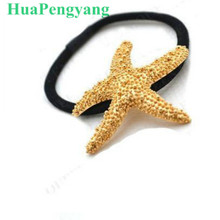European And American Fashion Street Shoot Golden Starfish Ring Metal Texture Good Hair Rope Tousheng Wholesale(China)