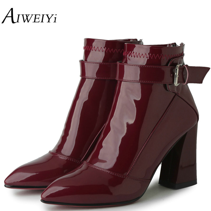 AIWEIYi Patent Leather Women High Heels Ankle Boots Platform Sexy Fur Warm Winter Boots Footwear Shoes Pointed Toe Short Booties<br>