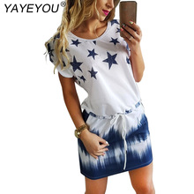 YAYEYOU New Woman Dress 2017 Summer Round Neck Womens Casual Clothing Star Print Gradient Shift Dresses
