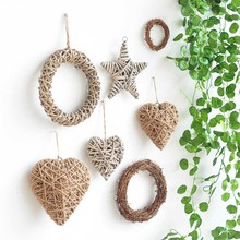 Handmade Retro Pendant decoration Natural Rattan Cane Star Heart Bird Wedding Party Decoration Seaside Materials Sepatakraw Star