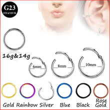 G23 Titanium Hinged Segment Ring 16g 14g Nose Lip Nipple Septum Cartilage Nipple Tragus Clicker Captive Body Piercing Jewelry(China)