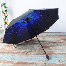 Super windproof Mini Umbrella 3D Star Sky White Clouds Rain Sunny Umbrella Sun Umbrella Vinyl Anti-UV Sunscreen Safer Shield