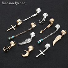 fashion lychee 5pcs Metal Adjustable Open Style Dreadlock Clips Cuff Anchor Cross Arrow Wings Hair Decoration Accessaries(China)