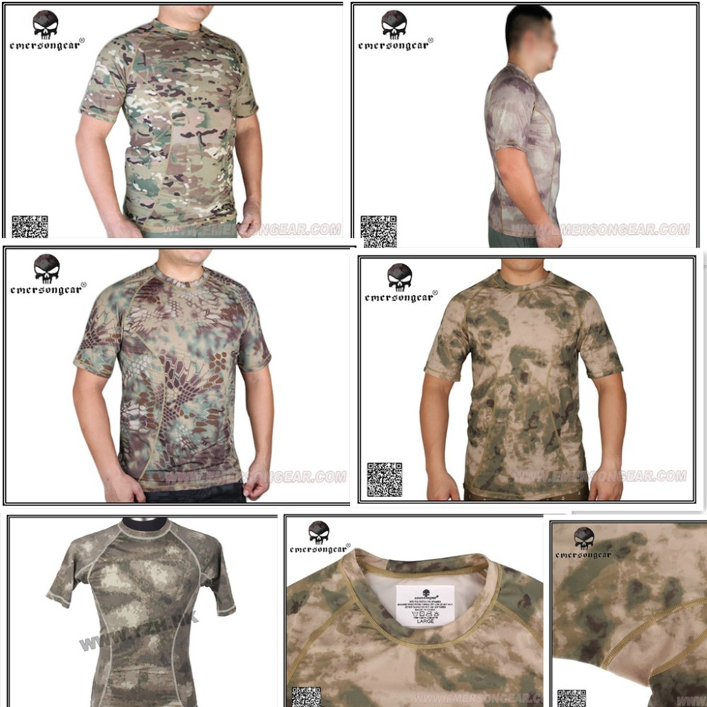 Emerson Gear Camoflage Military Running Shirts/ T-Shirt w/ Tight Base Layer Breathable EM8605MR MC AT/FG<br><br>Aliexpress