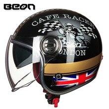BEON Motorcycle Helmet Harley 3/4 Open Face Vintage Helmet Moto Casque Casco Motocicleta Capacete Helmets