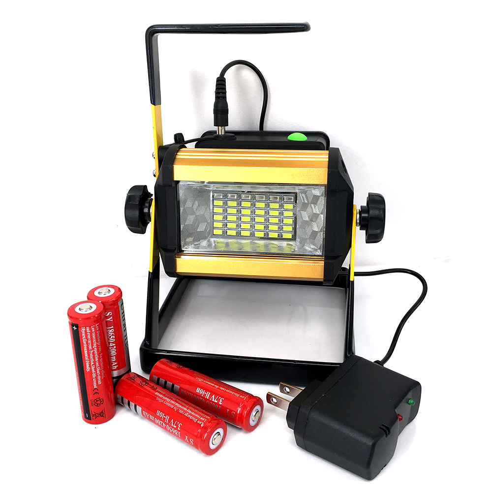 Super Bright 50W Outdoor LED Floodlight Rechargeable 36LED Camping Work Flood Light IPX67 Waterproof + 4x18650 Battery&amp;Charger<br>