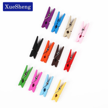 20 PCS Mini Wooden Decorative Color Clip, Wood Clothespin Clips Note Pegs Mixed for Photo Paper Clothes Office Supplies(China)