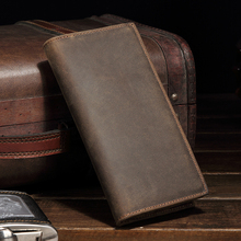 High Quality Men Genuine Leather Wallet Purse Business Vintage Card Holder Crazy Horse Leather Long Organizer Clutch Pouch 8030