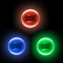2pcs Car LED Lights Solar Water Cup Bottom Pad Acrylic Car Decoration Cup Holder Car Atmosphere Decorative Lights