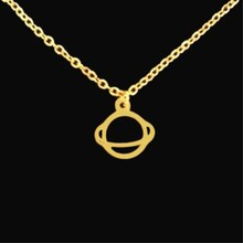 Retro Planet Saturn Necklace Pendant Choker Charm Outer Space Gold Silver Color Stainless Steel Chain Galaxy Jewelry
