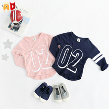 AD 6pcs/lot Kids T-shirts Spring Autumn Long sleeve Baseball Baby Boys Girls t shirts Children's Clothing Clothes 100% Quality
