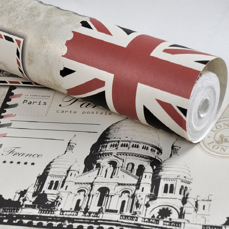 European style retro nostalgic stamp&amp;flag&amp;bell tower wall paper papel de parede tapete decor Coffee shop&amp;Bar&amp;Restraunt 53x1000cm<br>