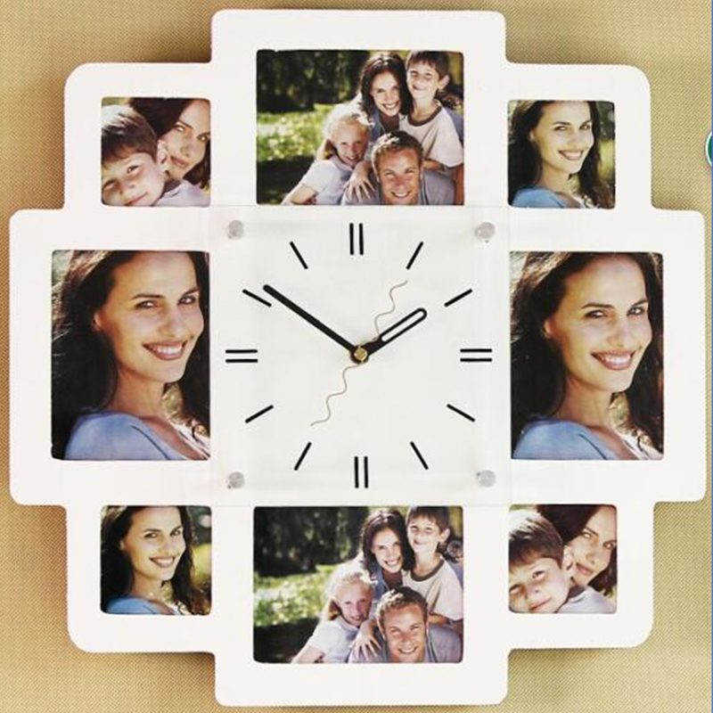 Best Selling Retro Wall Clock Decor Creative Photo Frame With Clock Wooden Watch Unique Gift(China)