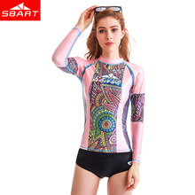 SBART Rash Guard Women Long Sleeve Swim Shirts Anti-UV Swimsuit for Womens Bathing Suit Sun Protection Rashguard Surfing Tops L(China)