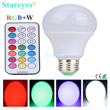 Free shipping 1 Piece E27 10W RGBW LED Bulb ball Light RGB W LED desk Lamp downlight droplight lighting with Remote Controller