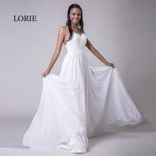 Buy LORIE Spaghetti Strap Cheap Wedding Dresses Princess Backless Chiffon Lace Sweep Train White Bride Dress Beach Wedding Gown 2018 for $79.09 in AliExpress store