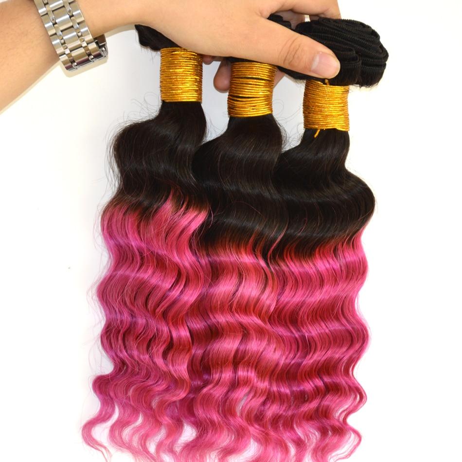 7a Peruvian Deep Wave 3Pcs 100% Ombre Deep Wave Virgin Human Hair Bundles 1B/pink Deep bohemian Curl Wave Virgin<br><br>Aliexpress