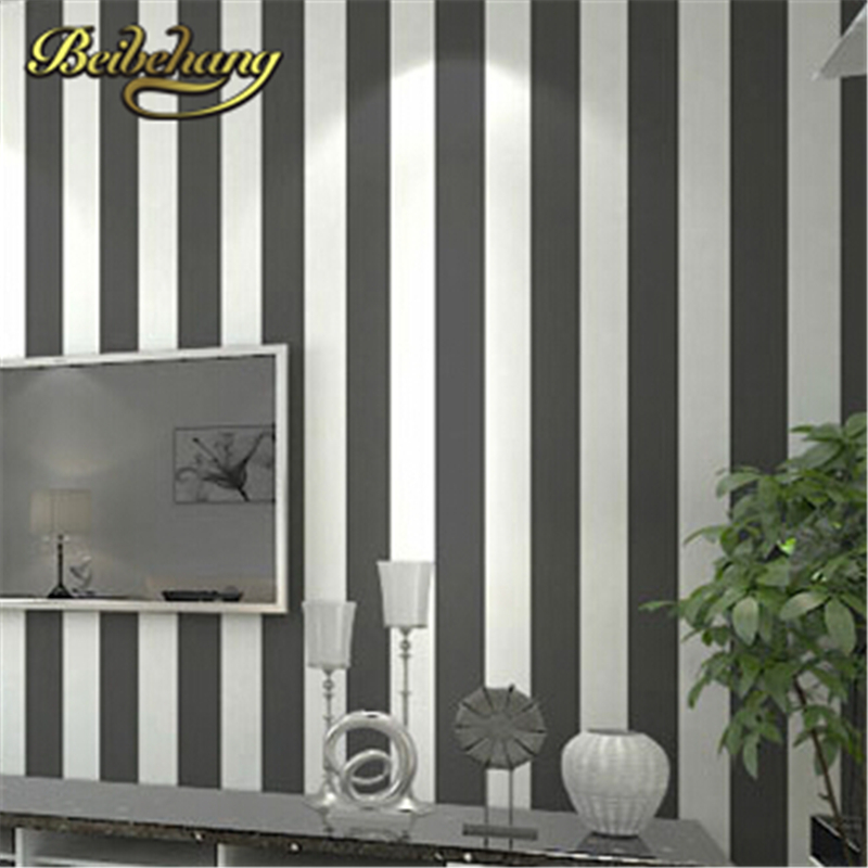 beibehang papel de parede. Modern grey and white wide stripe wallpaper roll papel de parede for background classic home decor <br>