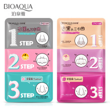 3 steps to blackhead remover korean cosmetics facial face black head mask acne charcoal sheet mask Peeling Peel Off nose mask(China)