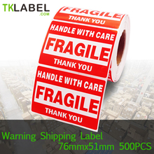 2 Rolls x Self-Adhesive Pre-printed Warning Shipping label Fragile Stickers For Ebay Amazon 4x3 3x2 inch Carton warning labels(China)