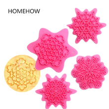 4PCS/Lot Plastic European Classical Floral Petal Cookie Stamps 5.5-6cm Kitchen Baking Biscuit Tools Cookie Stamper(China)