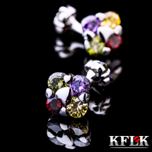 KFLK men's shirts cufflinks jewelry high quality wedding gift button double color crystal cufflinks 2017 products free shipping