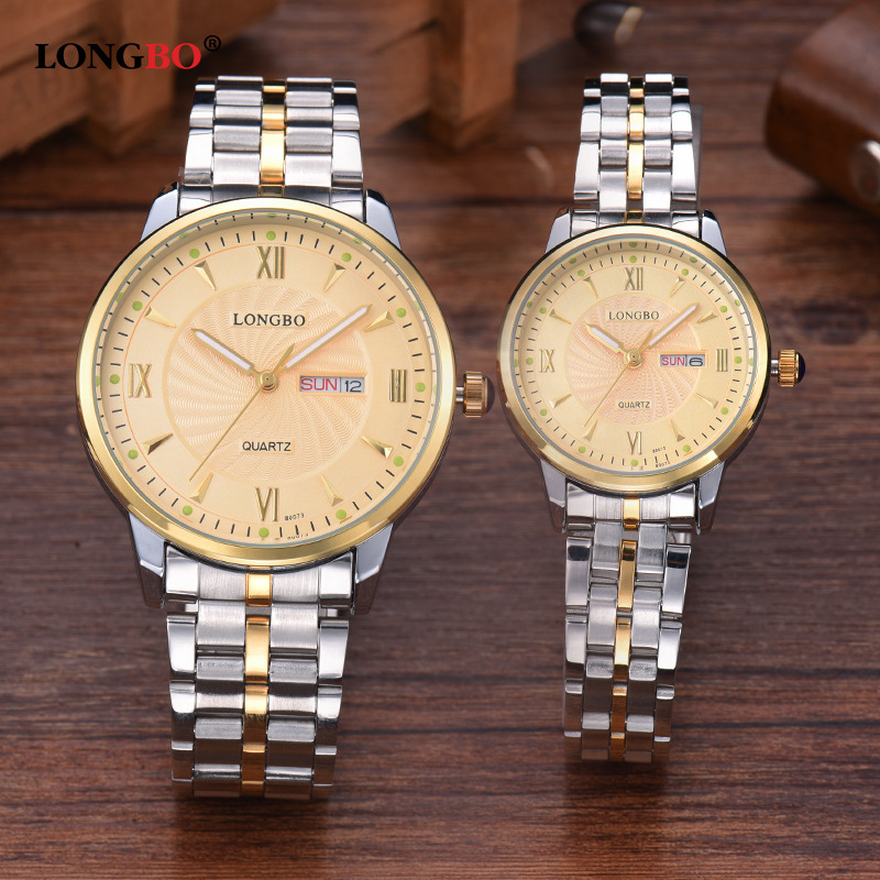 Longbo Fashion Luxury Brands Lover Watch Full Stainless Gold Steel Date Display Waterproof Couple Wrist Watches for Mens Womens<br><br>Aliexpress