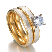 MMS 2pcs Wedding CZ Ring Set Classical Elgant Stainless Steel Frosted Couples Rings Jewelry