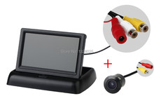 Safe backing E305 Waterproof 170 Angle Color CMOS Car Rear Cameras PAL/NTSC +Desktop folding 4.3inch LCD TFTcar monitor
