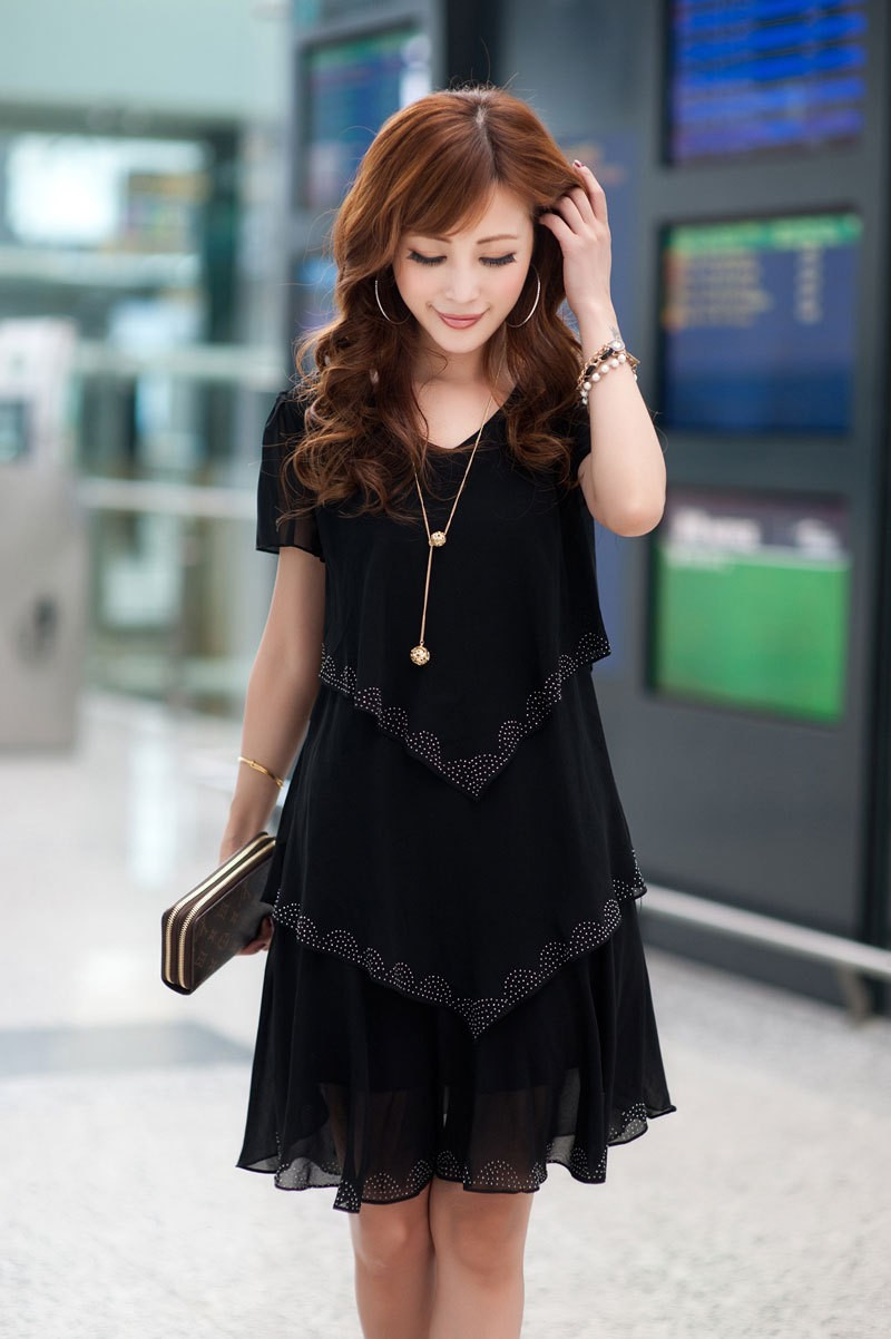 Vestido De Festa Summer Dresses 5XL Plus Size Women Clothing ropa mujer 18 Chiffon Dress Party Short Sleeve Casual Blue Black 4