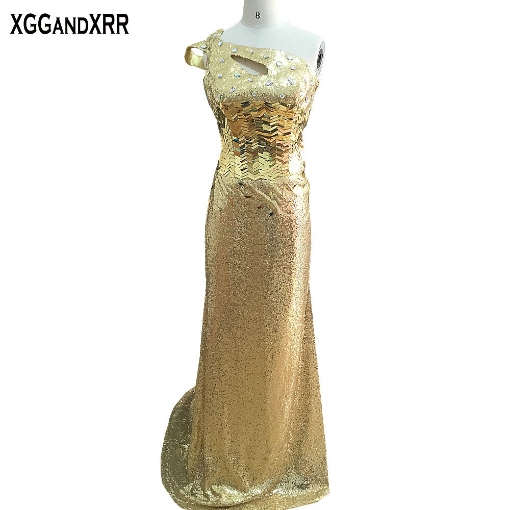 Hot Sale Yellow Sequined Mermaid Prom Dresses 2018 One Shoulder Crystal Hollow Back Sweep Train Formal Party Gowns