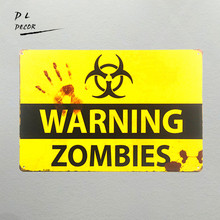 DL-shabby chic Retro ZOMBIE WARNING METAL SIGNS garage wall sticker home decor outdoor poster and prints pub bar wall plaque(China)